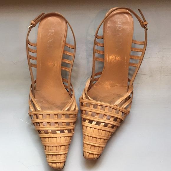 36d4dabea5acb Vintage Prada kitten heel sandals. M 5b3baeae0cb5aa052badd9aa